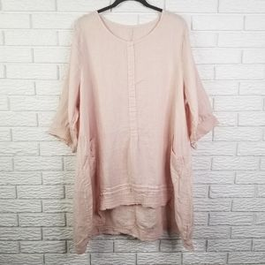 Linen Lagenlook Tunic 2X Pale Pink Made in Italy